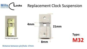 Steel Clock Suspension Spring. (21mm x 4 mm x 8mm) (Type M32)